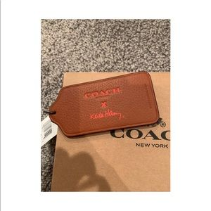 Beige COACH Keychain with Pink Writing, WITH TAGS